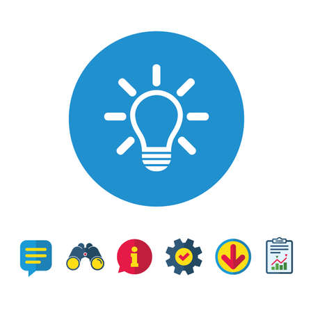 Light lamp sign icon. Idea symbol. Light is on. Information, Report and Speech bubble signs. Binoculars, Service and Download icons. Vector
