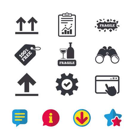 깨지기 쉬운 아이콘. 섬세한 포장 배달 표시. 이면을 위로 화살표 기호. 브라우저 창, 보고서 및 서비스 표지판. 쌍안경, 정보 및 다운로드 아이콘. 별과