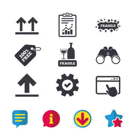 Fragile icons. Delicate package delivery signs. This side up arrows symbol. Browser window, Report and Service signs. Binoculars, Information and Download icons. Stars and Chat. Vector Illustration