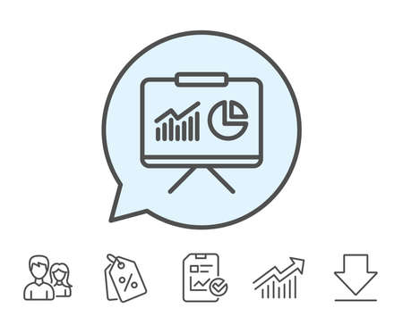 Presentation board line icon. Report chart or Sales growth sign. Analysis and Statistics data symbol. Report, Sale Coupons and Chart line signs. Download, Group icons. Editable stroke. Vector Ilustração