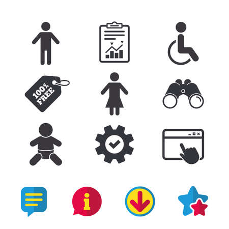 WC toilet icons. Human male or female signs. Baby infant or toddler. Disabled handicapped invalid symbol. Browser window, Report and Service signs. Binoculars, Information and Download icons. Vector Illustration