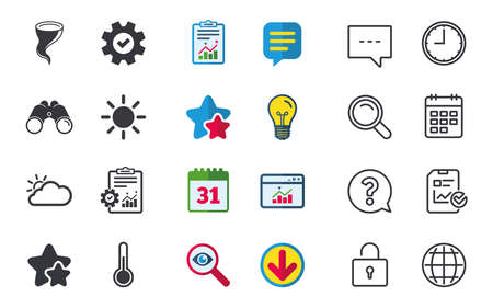 Weather icons. Cloud and sun signs. Storm symbol. Thermometer temperature sign. Chat, Report and Calendar signs. Stars, Statistics and Download icons. Question, Clock and Globe. Vector