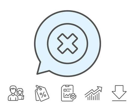 Eliminar icono de línea. Quite el letrero. Cancelar o Cerrar. Informe, cupones de venta y signos de línea de gráfico. Descargar, Iconos de grupo. Trazo editable. Vector Foto de archivo - 82829213