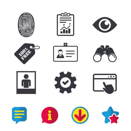 Identity ID card badge icons. Eye and fingerprint symbols. Authentication signs. Photo frame with human person. Browser window, Report and Service signs. Binoculars, Information and Download icons