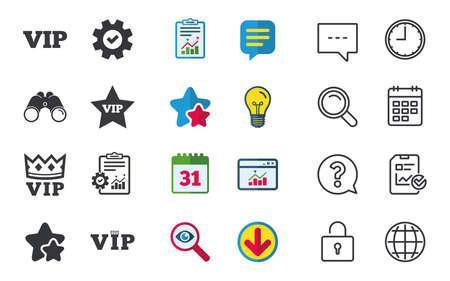 매우 중요한 사람 기호, 왕관과 별 표지판, 채팅, 신고 및 달력 표지판, 별표, 통계 및 다운로드 아이콘, 질문, 시계 및 지구본 벡터와 같은 VIP 아이콘.