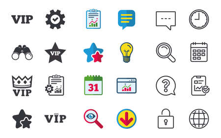 VIP icons such as very important person symbols, King crown and star signs, Chat, Report and Calendar signs, Stars, Statistics and Download icons, Question, Clock and Globe vector.