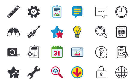 Screwdriver and wrench key tool icons. Bubble level and tape measure roulette sign symbols. Chat, Report and Calendar signs. Stars, Statistics and Download icons. Question, Clock and Globe. Vector