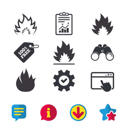 Fire flame icons. Heat symbols. Inflammable signs. Browser window, Report and Service signs. Binoculars, Information and Download icons. Stars and Chat. Vector Ilustração