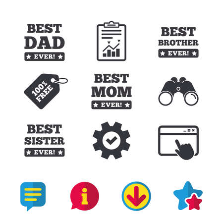 Best mom and dad, brother and sister icons. Award with exclamation symbols. Browser window, Report and Service signs. Binoculars, Information and Download icons. Stars and Chat. Vector