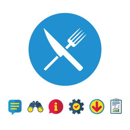 Icône de signe de nourriture. Symbole de la coutellerie. Couteau et une fourchette. Panneaux de bulles d'information, de rapport et de discours. Jumelles, icônes de service et de téléchargement. Vecteur Banque d'images - 82828984