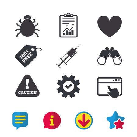 Bug and vaccine syringe injection icons. Heart and caution with exclamation sign symbols. Browser window, Report and Service signs. Binoculars, Information and Download icons. Stars and Chat. Vector Illustration
