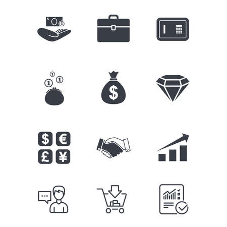 Money, cash and finance icons. Handshake, safe and currency exchange signs. Chart, case and jewelry symbols. Customer service, Shopping cart and Report line signs. Online shopping and Statistics