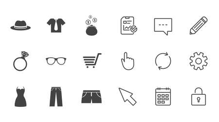 Clothes, accessories icons. Shirt, glasses and hat signs. Wallet with cash coins symbols. Chat, Report and Calendar line signs. Service, Pencil and Locker icons. Click, Rotation and Cursor. Vector