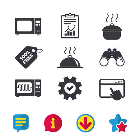 Microwave grill oven icons. Cooking pan signs. Food platter serving symbol. Browser window, Report and Service signs. Binoculars, Information and Download icons. Stars and Chat. Vector