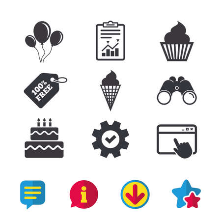 Birthday party icons. Cake with ice cream signs. Air balloons with rope symbol. Browser window, Report and Service signs. Binoculars, Information and Download icons. Stars and Chat. Vector