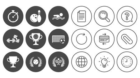 Sport games, fitness icons. Football, tennis and volleyball signs. Swimming, timer and bowling symbols. Document, Globe and Clock line signs. Lamp, Magnifier and Paper clip icons. Vector Иллюстрация