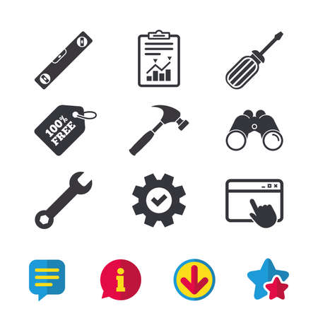 Screwdriver and wrench key tool icons. Bubble level and hammer sign symbols. Browser window, Report and Service signs. Binoculars, Information and Download icons. Stars and Chat. Vector Ilustracja