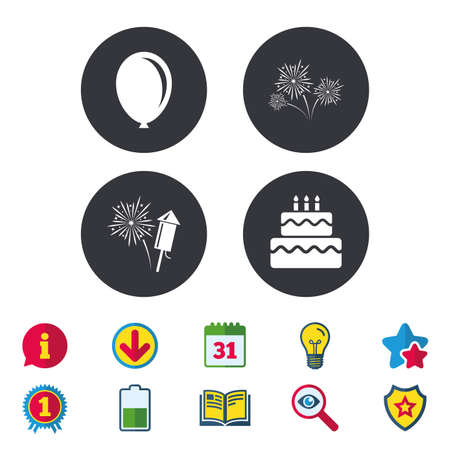 Birthday party icons. Cake and gift box signs. Air balloon and fireworks symbol. Calendar, Information and Download signs. Stars, Award and Book icons. Light bulb, Shield and Search. Vector