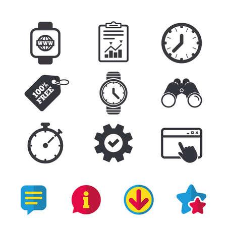 インターネットのアイコンとのスマートな腕時計。機械式時計の時刻、ストップウォッチ タイマー シンボル。手首デジタル時計の記号。ブラウザー