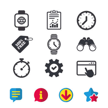 Smart watch with internet icons. Mechanical clock time, Stopwatch timer symbols. Wrist digital watch sign. Browser window, Report and Service signs. Binoculars, Information and Download icons. Vector