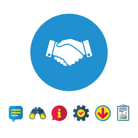Handshake sign icon. Successful business symbol. Information, Report and Speech bubble signs. Binoculars, Service and Download icons. Vector