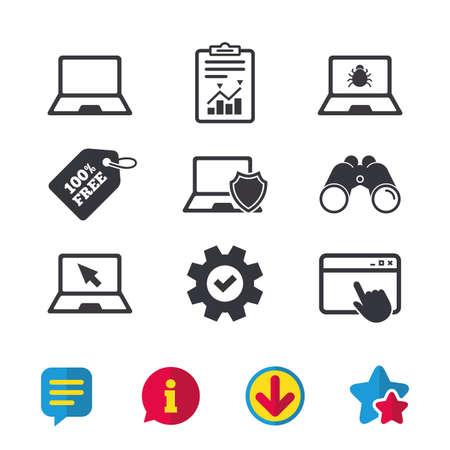 ノートブック ラップトップ pc アイコン。ウイルスやソフトウェアのバグの兆候。シールド保護のシンボルです。マウス カーソルのポインター。ブ