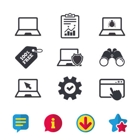 Notebook laptop pc icons. Virus or software bug signs. Shield protection symbol. Mouse cursor pointer. Browser window, Report and Service signs. Binoculars, Information and Download icons. Vector