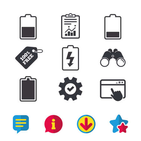 Battery charging icons 向量圖像