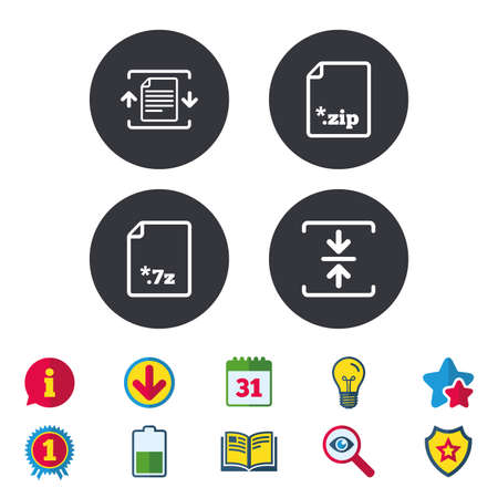zipped: Archive file icons Illustration