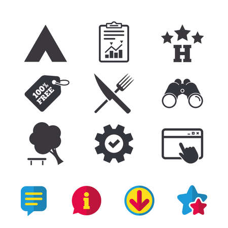 Food, hotel, camping tent and tree icons