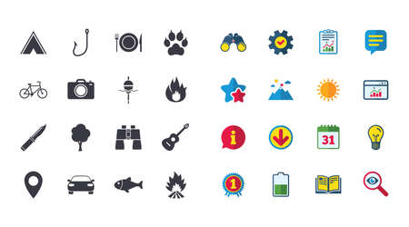 Set of Travel, Hiking and Camping icons Ilustracja