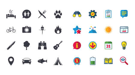 Set of Travel, Hiking and Camping icons Illustration