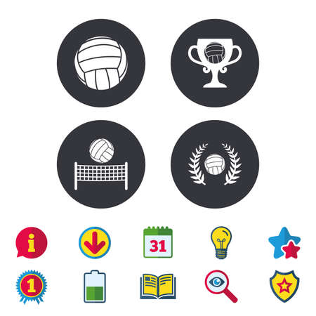 Volleyball and net icons