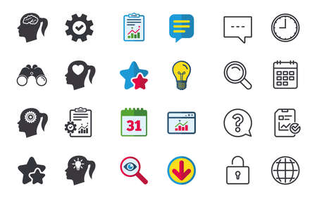Head with brain and idea lamp bulb icons