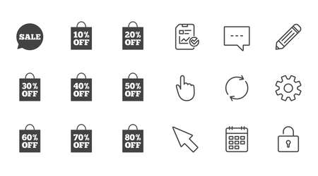 Sale discounts icons Illustration