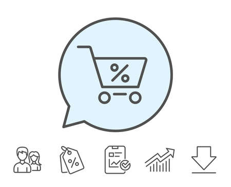 gift basket: Shopping cart with Percentage line icon