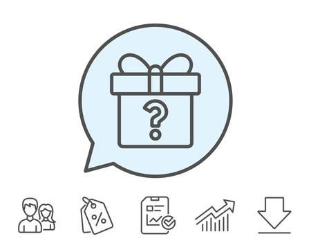 Geschenkdoos met vraagteken lijn pictogram