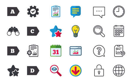 Energy efficiency class icons Çizim