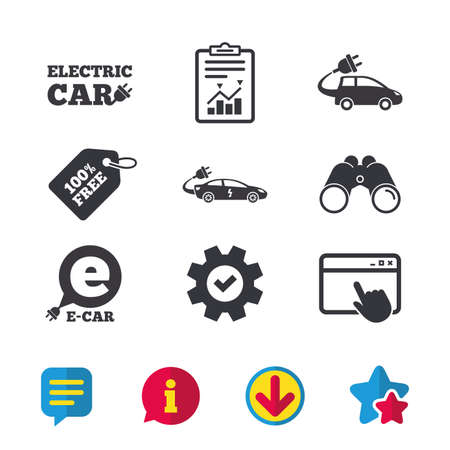 Elektrische auto pictogrammen Stock Illustratie