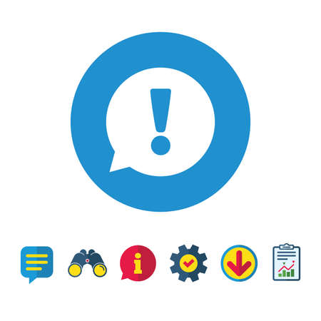 Exclamation mark sign icon. Attention speech bubble symbol. Information, Report and Speech bubble signs. Binoculars, Service and Download icons. Vector Illustration
