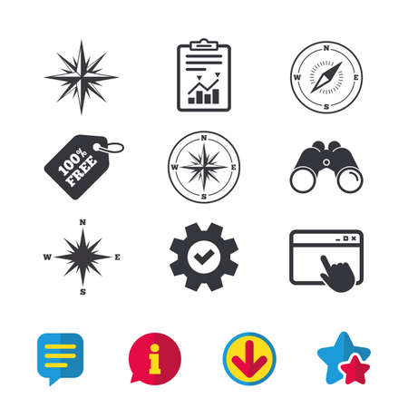 Windrose navigation icons. Compass symbols. Coordinate system sign. Browser window, Report and Service signs. Binoculars, Information and Download icons. Stars and Chat. Vector Illustration