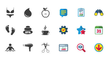 Spa, hairdressing icons. Swimming pool sign. Lingerie, scissors and hairdryer symbols. Calendar, Report and Download signs. Stars, Service and Search icons. Statistics, Binoculars and Chat. Vector