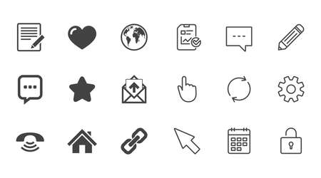 Mail, contact icons. Favorite, like and internet signs. E-mail, chat message and phone call symbols. Chat, Report and Calendar line signs. Service, Pencil and Locker icons. Click, Rotation and Cursor Illustration
