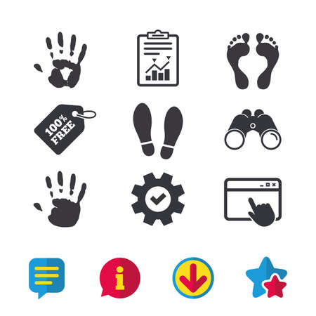 Hand and foot print icons. Imprint shoes and barefoot symbols. Stop do not enter sign. Browser window, Report and Service signs. Binoculars, Information and Download icons. Stars and Chat. Vector Illustration