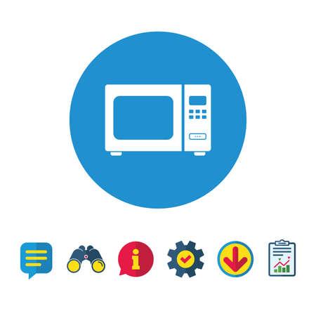電子レンジの記号のアイコン。キッチン電気コンロのシンボル。情報・ レポート ・音声バブルの兆候。双眼鏡、サービス、ダウンロードのアイコン