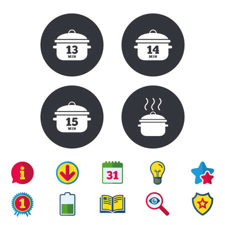 Cooking pan icons. Boil 13, 14 and 15 minutes signs. Stew food symbol. Calendar, Information and Download signs. Stars, Award and Book icons. Light bulb, Shield and Search. Vector