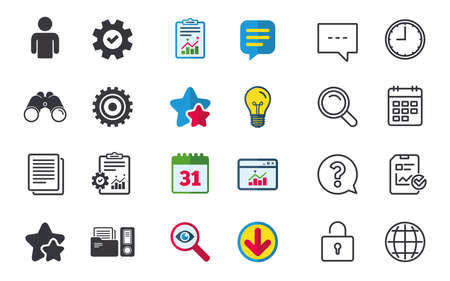Accounting workflow icons. Human silhouette, cogwheel gear and documents folders signs symbols. Chat, Report and Calendar signs. Stars, Statistics and Download icons. Question, Clock and Globe. Vector Stock Vector - 82878494