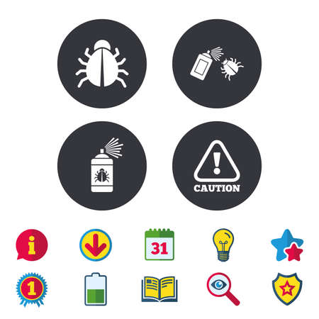 Bug disinfection icons. Caution attention symbol. Insect fumigation spray sign. Calendar, Information and Download signs. Stars, Award and Book icons. Light bulb, Shield and Search. Vector