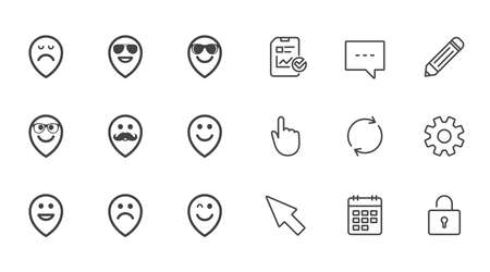 Smile pointers icons. Happy, sad and wink faces signs. Sunglasses, mustache and laughing lol smiley symbols. Chat, Report and Calendar line signs. Service, Pencil and Locker icons. Vector