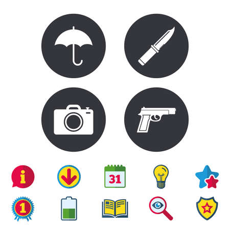 Gun weapon icon.Knife, umbrella and photo camera signs. Edged hunting equipment. Prohibition objects. Calendar, Information and Download signs. Stars, Award and Book icons. Vector Illustration